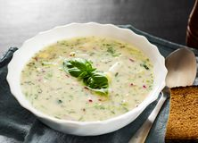 Summer cold soup - okroshka in a white bowl. Ingredients of potatoes, radishes, cucumbers, parsley, eggs. On a wooden table Royalty Free Stock Images