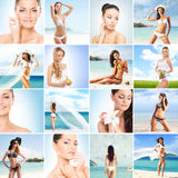 Summer collage. Fitness, healthy eating and resorts. Summer collage. Fitness, healthy eating, resorts, swimsuits and a beach collection stock photos