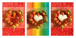 Summer collage with strawberry Stock Photos