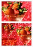 Summer collage with strawberry and hearts Stock Photography