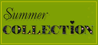 Summer Collection. Black Floral font. royalty free stock images