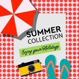 Summer Collection, Enjoy your Holiday, poster, travel banner, beach resort,  illustration. Royalty Free Stock Image