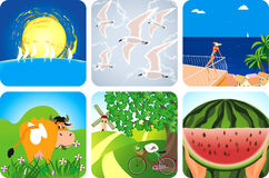 Summer collection icons Royalty Free Stock Images