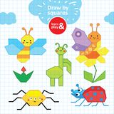 Summer collection of insects. Pen children s drawing on checkered school notebook. Vector hand drawn illustration draw stock illustration