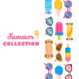 Summer collection of objects Royalty Free Stock Photo