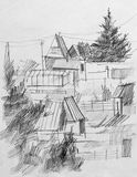 Summer colony, pencil drawing Stock Photos