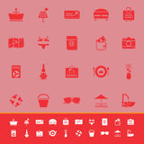 Summer color icons on red background Royalty Free Stock Photo