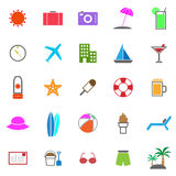 Summer color icons on white background Stock Image