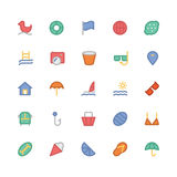 Summer Colored Vector Icons 5. We are offering a new set of summer icons pack. Optimise these icons in your vacations, beaches and travel projects, This pack Stock Photography