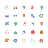 Summer Colored Vector Icons 1 Royalty Free Stock Image