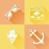 Summer colorful flat icons Royalty Free Stock Images