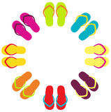 Summer colorful flipflops in circle Stock Photos