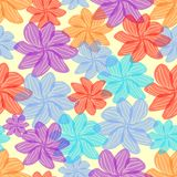 Summer colorful flowers in seamless background. Cheerful decorative abstract tile or wallpaper Stock Photos