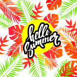 Summer colorful hawaiian pattern with tropical plants and hibiscus flowers  illustration. Summer colorful hawaiian pattern with tropical plants and hibiscus Royalty Free Stock Photo
