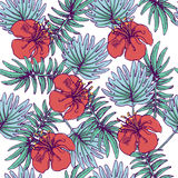 Summer colorful hawaiian seamless pattern with tropical plants and hibiscus flowers. For your design Stock Image
