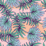 Summer colorful hawaiian seamless pattern with tropical plants. For your design Royalty Free Stock Photography