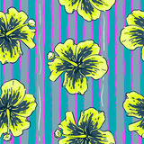Summer colorful seamless pattern with hibiscus flowers. Summer colorful hawaiian seamless pattern with hibiscus flowers Stock Images