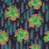 Summer colorful seamless pattern with tropical plants and hibiscus flowers. Summer colorful hawaiian seamless pattern with tropical plants and hibiscus flowers Royalty Free Stock Photo