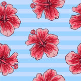 Summer colorful seamless pattern with tropical plants and hibiscus flowers Royalty Free Stock Photo