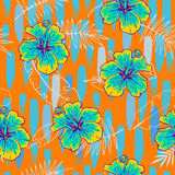 Summer colorful seamless pattern with tropical plants and hibiscus flowers Stock Photo