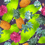 Summer colorful seamless pattern with tropical plants and hibiscus flowers. Summer colorful hawaiian seamless pattern with tropical plants and hibiscus flowers Royalty Free Stock Images