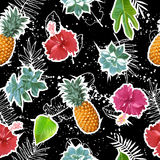 Summer colorful seamless pattern with tropical plants and hibiscus flowers Stock Images