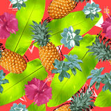 Summer colorful seamless pattern with tropical plants and hibiscus flowers Stock Photos