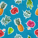 Summer colorful seamless pattern with tropical plants and hibiscus flowers Stock Photography