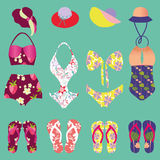 Summer colorful set of flip-flops and swimsuits isolated - Illus Royalty Free Stock Images