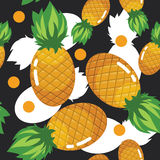 Summer Colorfull Fresh Pineapple Fruit Seamless Pattern. Illustration / pattern of colorfull fresh pineapple fruit Pattern in black and white background Stock Photography