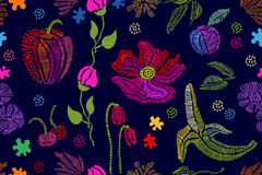Summer colors. Floral seamless vector pattern with embroidered fruits, wildflowe Royalty Free Stock Photos