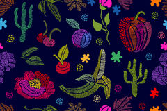 Summer colors. Floral seamless vector pattern with embroidered fruits, wildflowe Stock Photo