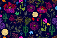 Summer colors. Floral seamless vector pattern with embroidery wildflowers and su. Stylized hand drawn elements. 1950s-1960s motifs. Retro textile design stock illustration