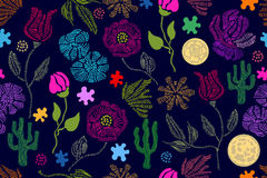 Summer colors. Floral seamless vector pattern with embroidery wildflowers and su. Stylized hand drawn elements. 1950s-1960s motifs. Retro textile design Vector Illustration