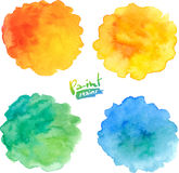 Summer colors vector watercolor splashes set Royalty Free Stock Image