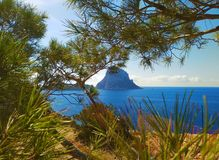 Summer comes, ready for the holidays in the unspoiled nature of the Balearic islands. to discover ibiza and its wonders, like the. Islet of Es Vedra stock photography