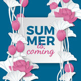 Summer is coming card, paper frame on floral background, paper pink lotus flowers on blue backdrop for poster or sale banner. Stock Photos
