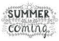 Summer is coming. Hand drawn motivation lettering poster Royalty Free Stock Image