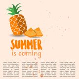 Summer is Coming Design with Pineapples. Summer is Coming with Pineapple and text template stock illustration