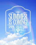 Summer is coming poster, sale spring collections. Royalty Free Stock Photos