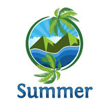 Summer is coming text on  summer beach background. Coconut tree circular Stock Image