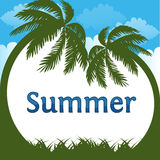 Summer is coming text on  summer beach background. Vector illustration Stock Photography