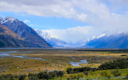 Summer Coming to Mouth of Lake Pukaki Stock Photography