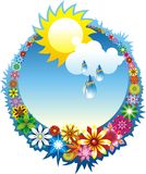 Summer composition. With flower wreath sun and sky Royalty Free Stock Images