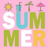 SUMMER Composition with coloring elements. Design for your poster, banner. Flyer Vector Royalty Free Stock Images