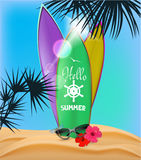 Summer composition with palm trees and surfboards on the beach Royalty Free Stock Photo