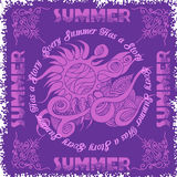 Summer composition and sun. Vintage vector illustration Stock Photos