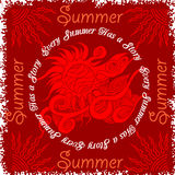 Summer composition and sun. Vintage vector illustration Stock Photo