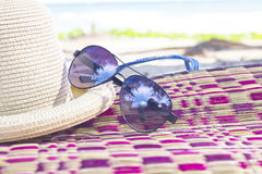 Summer concept with accessories on beach Stock Photos