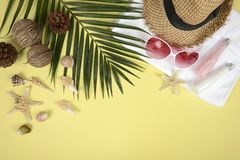 Summer concept and accessoriesshells, starfish, coconut leafwith sandy beach on yellow background Royalty Free Stock Images